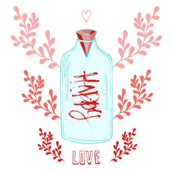 Słoik miłości z kreatywnym napis happy. wektor ładny romantyczny tło. walentynki karta lub plakat