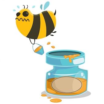 Słoik miodu i pszczoła kreskówka. charakter pszczół na białym tle.