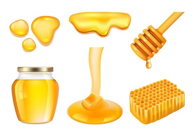 Słoik na miód. złote lub żółte lepkie plamy miodu i realistyczne ilustracje wektorowe o strukturze plastra miodu. słodki miód, naturalna złota żywność ekologiczna