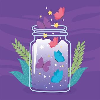 Słoik terrarium słodkie motyle liści roślinność kreskówka fioletowy ilustracja