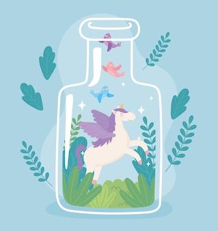 Słoik terrarium z jednorożcem kreskówka rośliny zwierzęce dekoracja ilustracja kreskówka