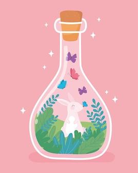 Słoik terrarium z królikiem motyle małe zielone drzewo ilustracja kreskówka