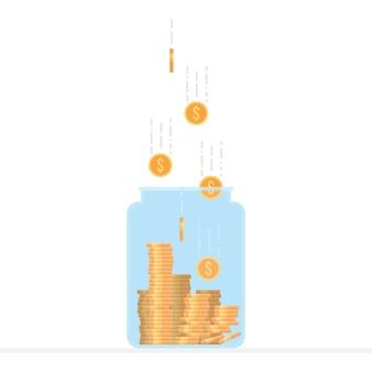 Słoik wypełniony złotymi monetami