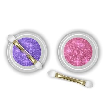 Słoik z brokatem. realistyczny obiekt z błyskami, widok z góry. zestaw słoików brokatowych w kolorach fioletowym i różowym z realistycznym pędzelkiem do makijażu