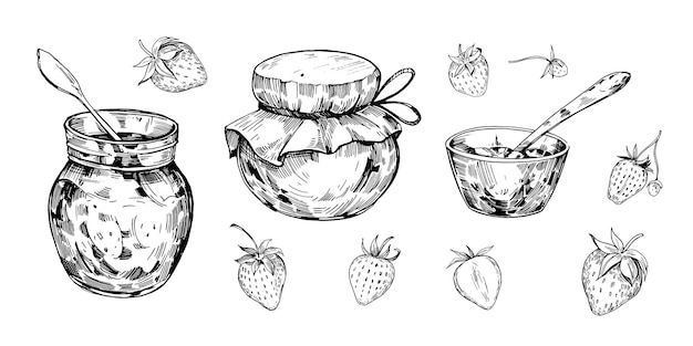 Słoik z dżemem i truskawką. ręcznie rysowane kontur przekonwertowany na wektor