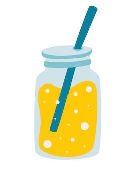 Słoik z lemoniadą. ikona dłoni ciągnione sok z lemoniady. świeże owoce. orzeźwiający koktajl. letni napój. ilustracja wektorowa w stylu kreskówki