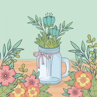 Słój z dekoracją kwiatową w drewnianej podłodze