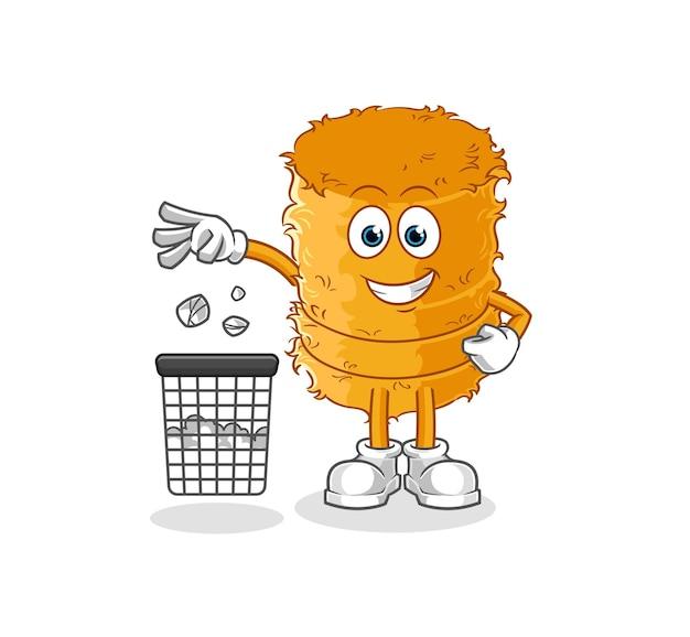 Słomiana bułka maskotka rzuć śmieci. kreskówka