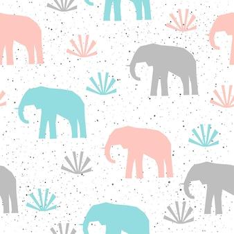 Słoń bezszwowe tło. szary, niebieski i różowy słoń. abstrakcyjny wzór dla karty, książki, banera, okładki pamiętnika, t-shirt, albumu, tkaniny, odzieży itp. natura i motyw zwierzęcy.