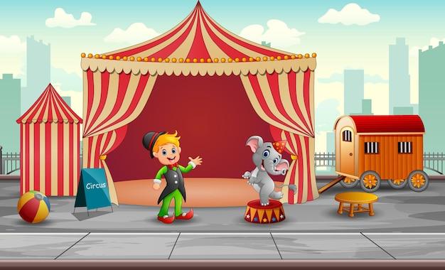Słoń cyrkowy i trener w namiocie cyrkowym
