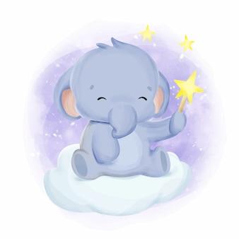 Słoń dziecko gra gwiazda akwarela