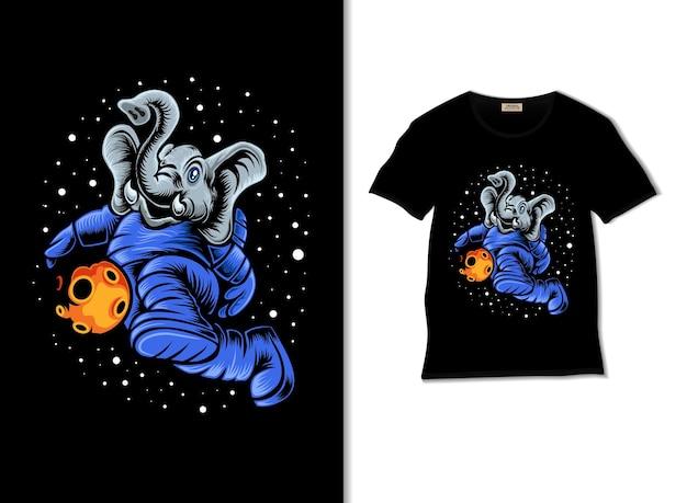 Słoń grający w piłkę nożną w kosmicznej ilustracji z projektem koszulki