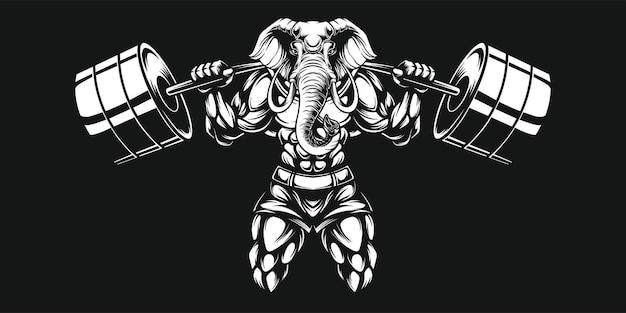 Słoń i hantle, czarno-biała ilustracja elefante