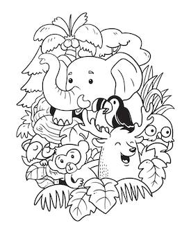 Słoń i przyjaciele doodle