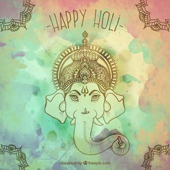 Słoń indyjski okazji holi tle
