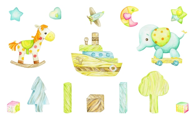 Słoń, koń na biegunach, łódka, samolot, zabawki drewniane. akwarela klip w stylu cartoon na na białym tle. na kartki dla dzieci i święta.