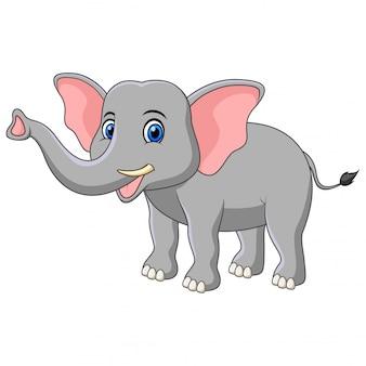 Słoń kreskówka na białym tle