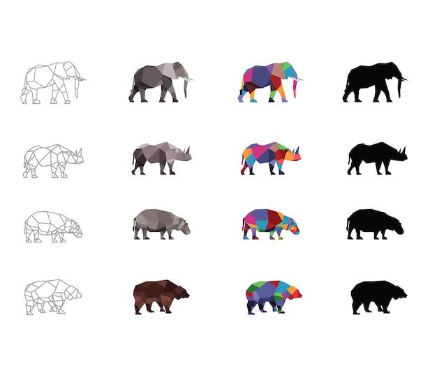 Słoń, nosorożec, hipopotam, niedźwiedź, zwierzęta w zoo na białym tle