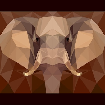 Słoń patrzy przed siebie. tło tematu życia przyrody i zwierząt. abstrakcyjna geometryczna ilustracja trójkąta wielokątnego na projekt karty, zaproszenie, plakat, baner, afisz, okładka billboardu