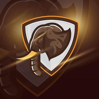 Słoń strong head esport mascot logo do gier e-sportowych i sportowych premium wektorów swobodnych