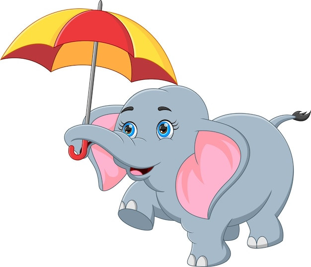 Słoń trzymający parasolkę na białym tle