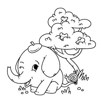 Słoń w kapeluszu z ślimakiem na ogonie i myszą na drzewie. postać z kreskówki zwierząt wektor ilustracja na białym tle. do kolorowania strony i książki.