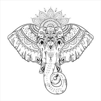 Słoń w stylu plemiennym na białym tle
