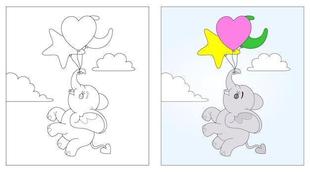 Słoń wektor, kolorowanka lub stronę, edukacja dla dzieci, ilustracji wektorowych.