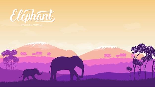 Słoń z dziećmi jest na ilustracji środowiska. dzikie zwierzę przeciwko koncepcji przyrody afryki.