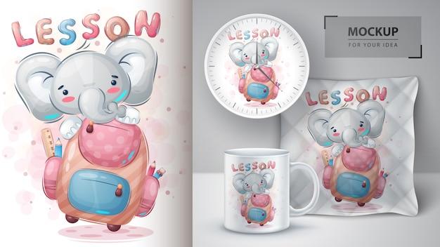 Słoń z plakatem szkolnym i merchandisingiem