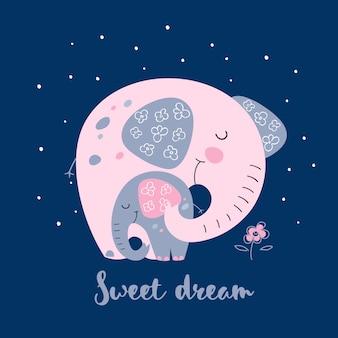 Słoń z słoniątkiem w ślicznym stylu. słodki sen.