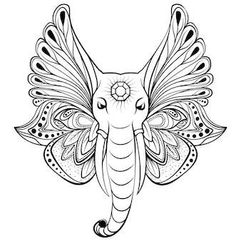 Słoń ze skrzydłami zamiast uszu. idealny do etnicznej sztuki tatuażu, jogi, projektowania boho.