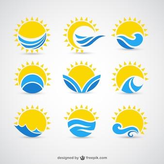 Słońca i fale ikony
