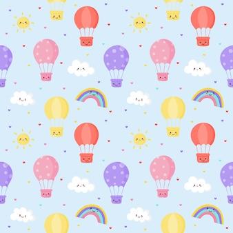 Słońce bez szwu wzór, balon, tęcza i chmury. kawaii tapeta