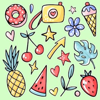 Słońce i zabawa. ananas, truskawka, wiśnia, lody, arbuz, tropikalny liść, lemoniada, kwiat, pączek.