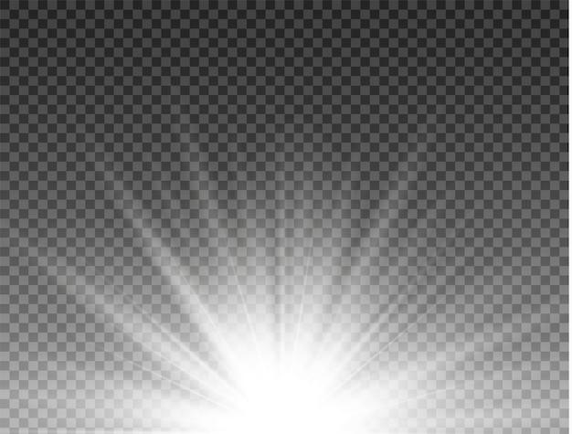 Słońce, jasny błysk. wybucha białe świecące światło. lśniące cząsteczki kurzu. jasna gwiazda.