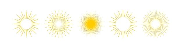 Słońce. kolekcja sun rays.