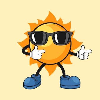Słońce kreskówki ilustracja z chłodno gestem