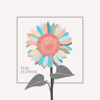 Słońce Kwiat Ilustracja Wektor Premium Wektorów