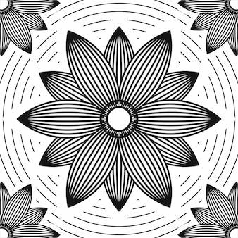 Słońce kwiatu kreskowej sztuki backgorund monochrom