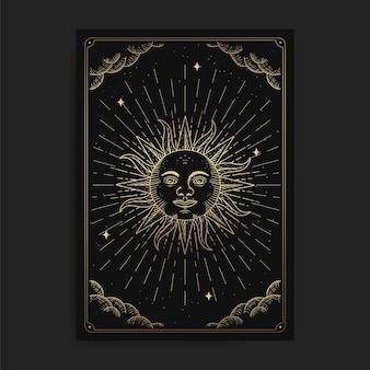 Słońce lub symbol siły. magiczne okultystyczne karty tarota, duchowy czytnik tarota ezoterycznego boho, astrologia magicznych kart, rysowanie duchowe.