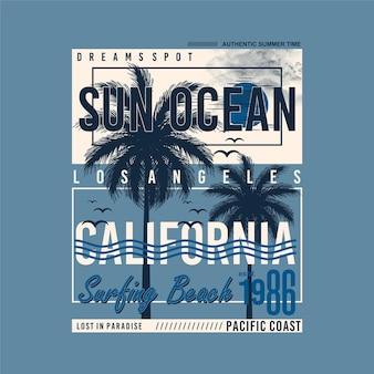 Słońce ocean california surfing plaża typografia t shirt abstrakcyjne grafiki wektory