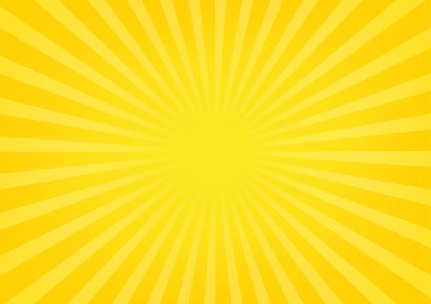 Słońce promienie sunburst na żółtym i pomarańczowym koloru tle.