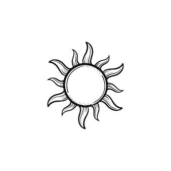 Słońce ręcznie rysowane konspektu doodle ikona. ilustracja szkic wektor odnawialnej energii słonecznej do druku, sieci web, mobile i infografiki na białym tle.