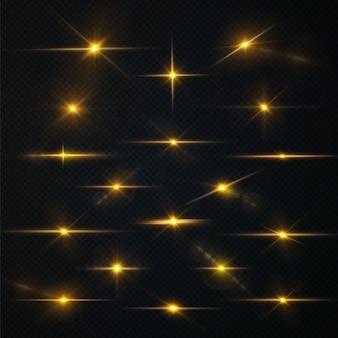 Słońce świeci jasnymi promieniami światła z realistycznym blaskiem lekka gwiazda złota boże narodzenie