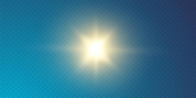 Słońce świeci jasnymi promieniami z realistycznym blaskiem. jasna gwiazda na przezroczystym czarnym tle.