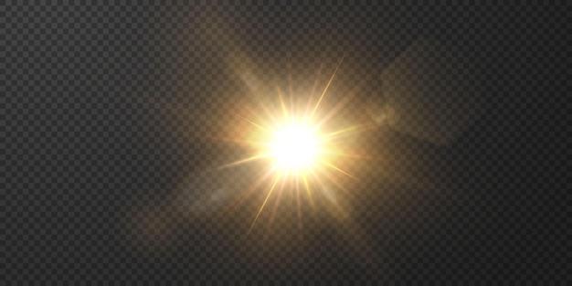 Słońce świeci jasnymi promieniami z realistycznym blaskiem