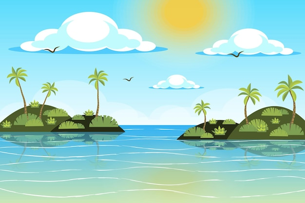 Słońce świeci nad krajobrazem tropikalnych wysp w stylu płaskiej