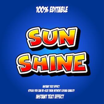 Słońce świeci tekst, edytowalny efekt czcionki