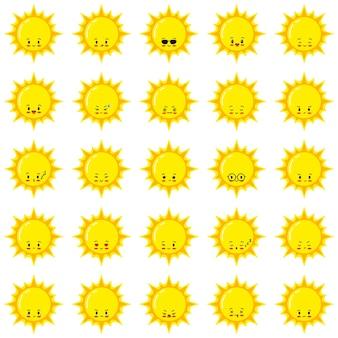 Słońce wektor zestaw emoji. płaskie słońce emotikon kreskówka ikona logo projektowanie, styl kawaii. szczęśliwe, smutne, mrugające, płaczące letnie słońce twarze z różnymi emocjami na białym tle. emotikon pogody